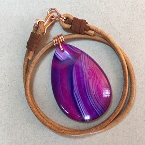 "Jewelry - 16"" Purple Agate Gemstone Leather Choker Necklace"